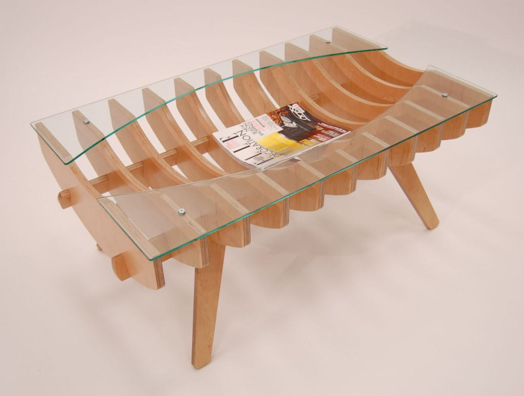 Ribcage coffee table - Perspective view with magazine