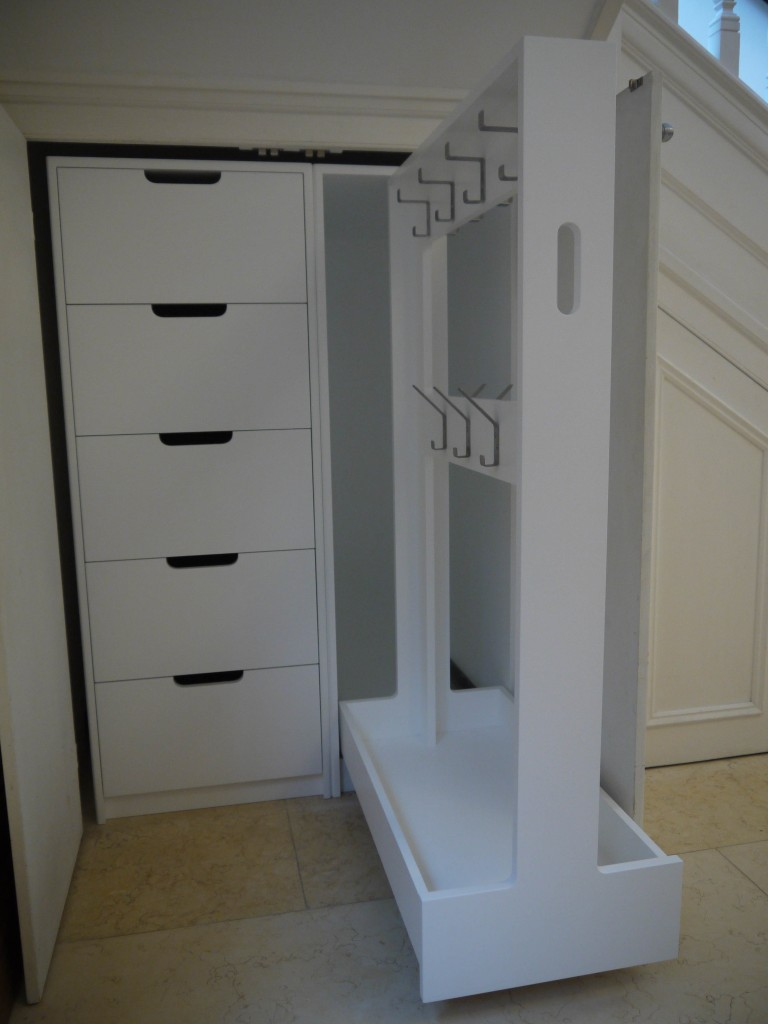Drawer storage and jacket rack - open view